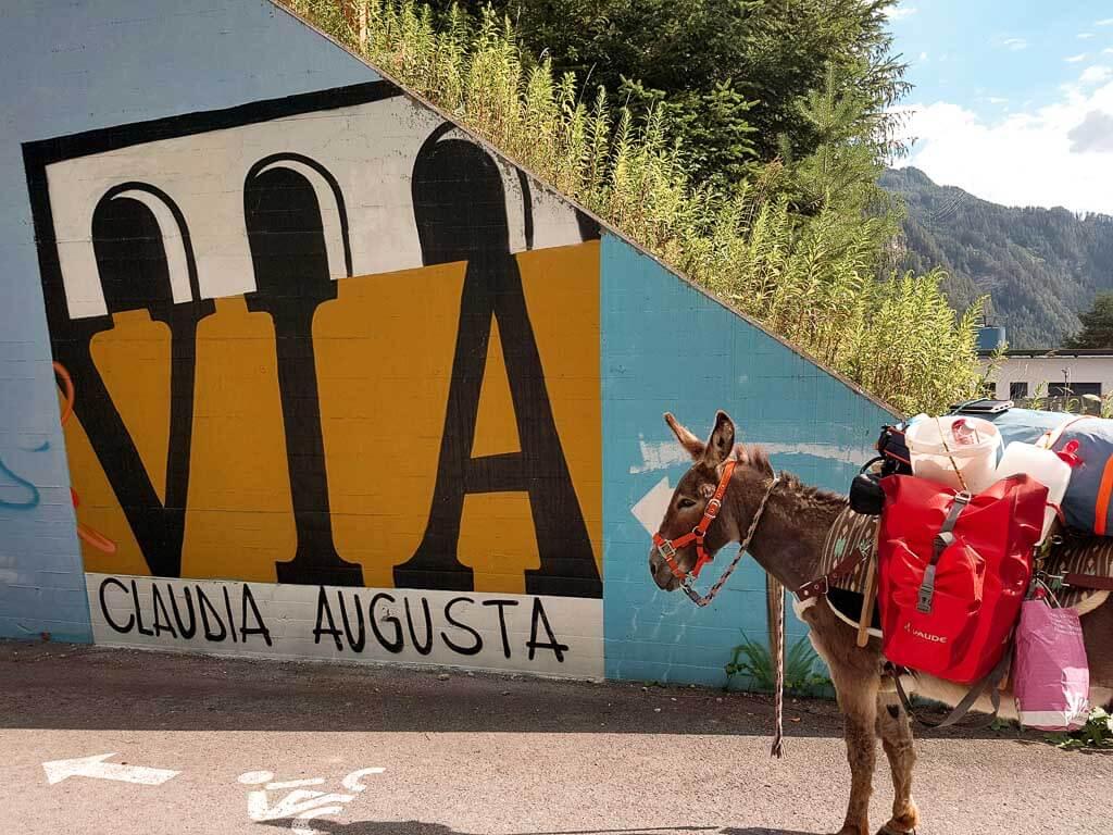 Esel Jonny vor einer Bemalung der Via Claudia Augusta