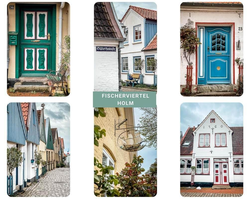 Häuser, Gassen und Türen im Fischerviertel Holm von Schleswig