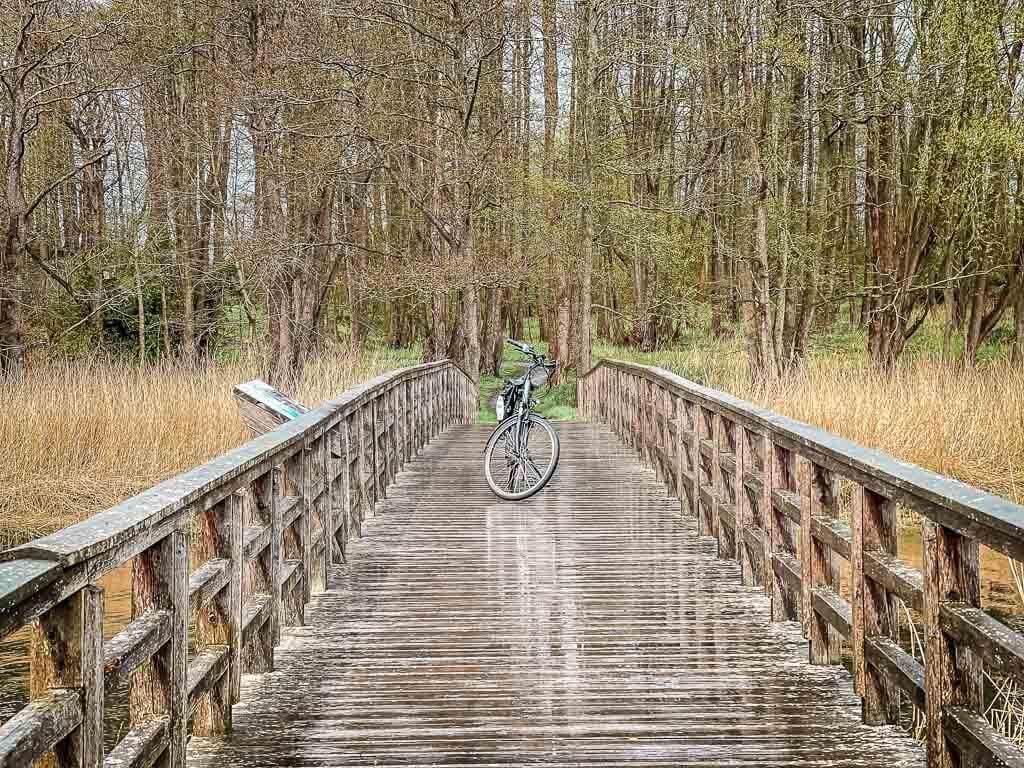 Fahrrad auf Holzbrücke an der Füsinger Au am Ostseefjord Schlei