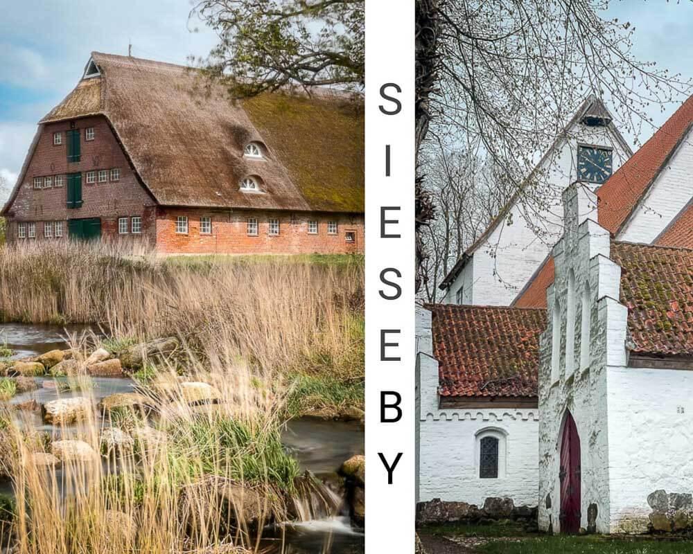 Sieseby - Kirche und Reetdachhäuser am Ostseefjord Schlei