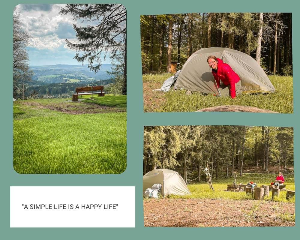 Couchflucht Sabrina Bechtold zeltet auf den Trekkingplätzen im Frankenwald