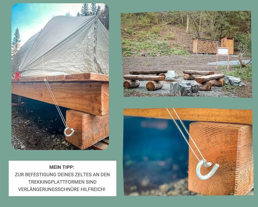 Trekkingplatz Leitschtal im Frankenwald mit Befestigung des Zeltes