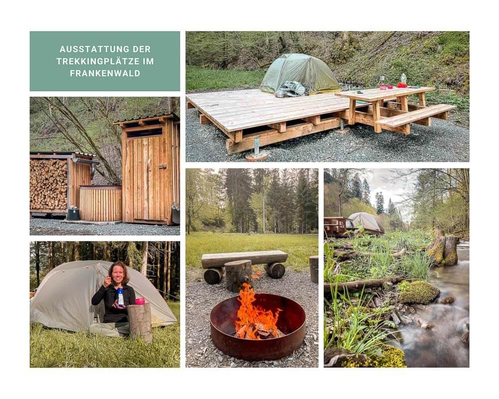 Frankenwald Trekkingplätze Ausstattung und Zelt Plattformen