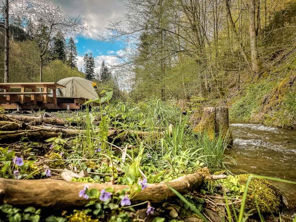 Frankenwald Trekkingplatz Leitschtal mit Bach und Zelt