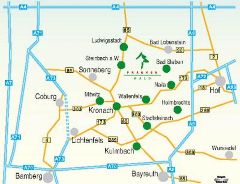 Frankenwald - Karte Anfahrt