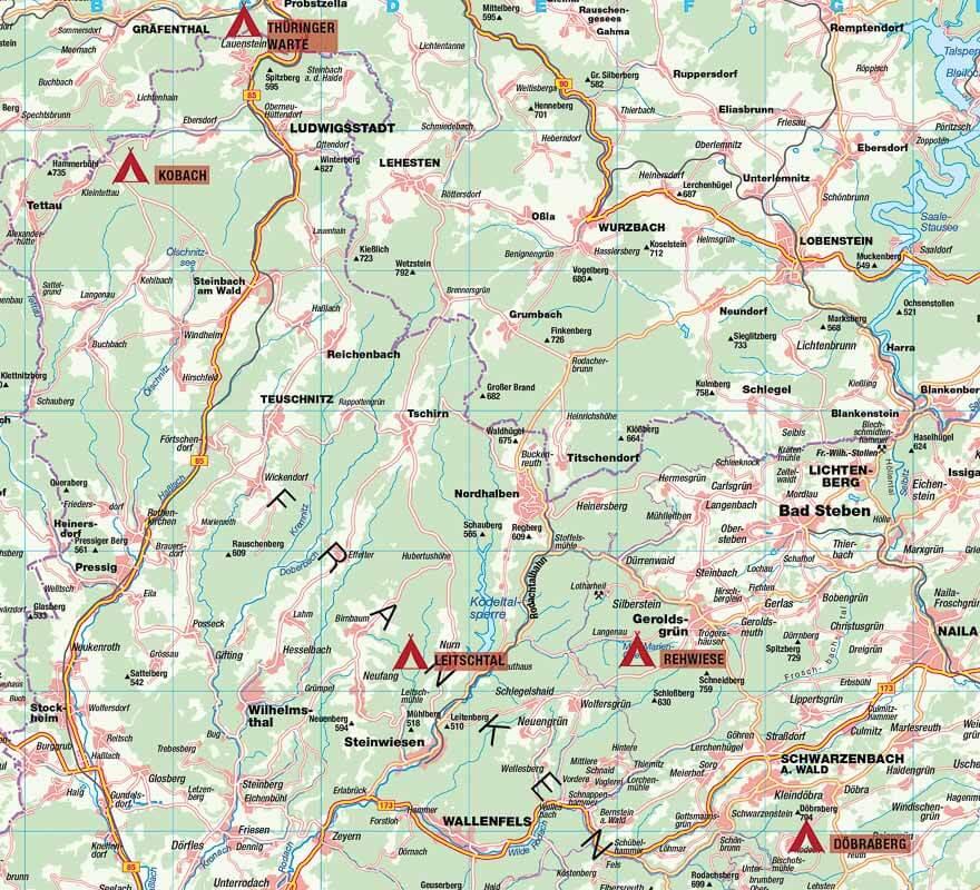 Übersichtskarte Lage der Trekkingplätze im Frankenwald