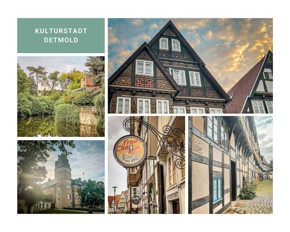 Fachwerkhäuser, Residenzschloss und Altstadt in Detmold