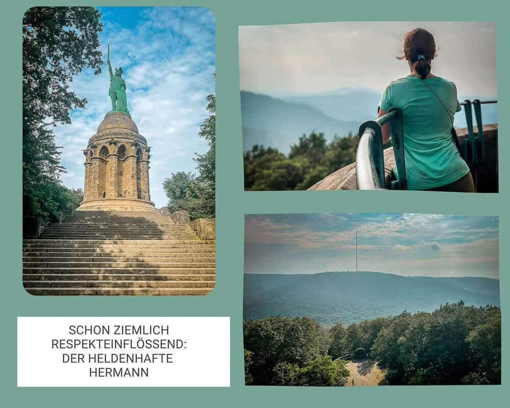 Ausblick auf Lipperland und Teutoburger Wald vom Hermannsdenkmal in Detmold