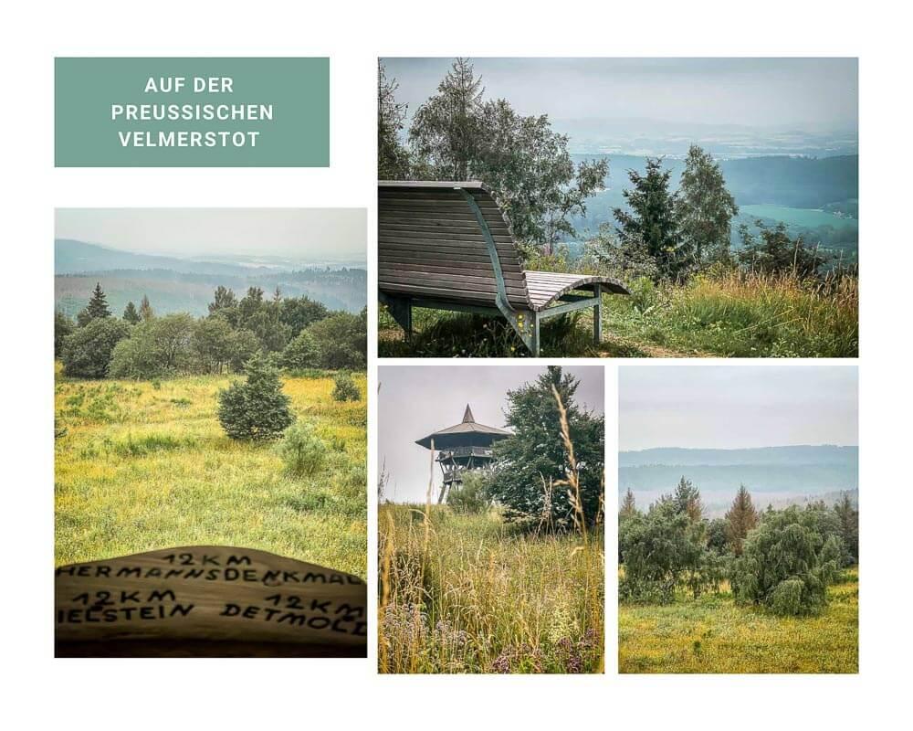 Eggeturm und Panorama auf der Preussischen Velmerstot im Eggegebirge