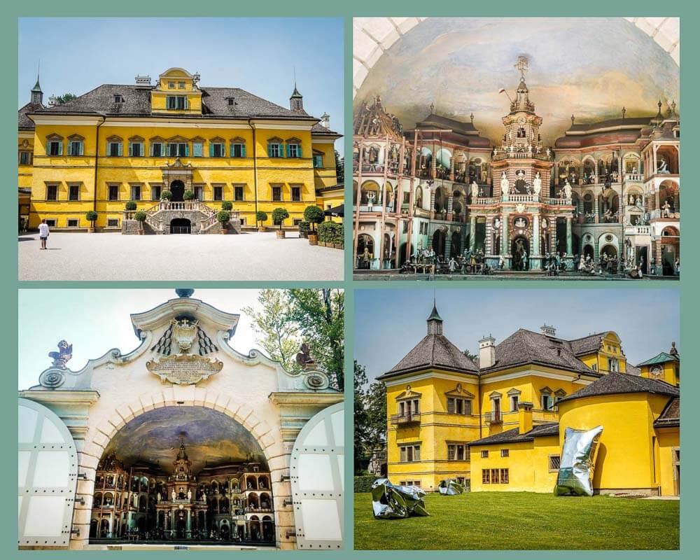 Salzburg Schloss Hellbrunn mit mechanischem Theater und Schlossfassade
