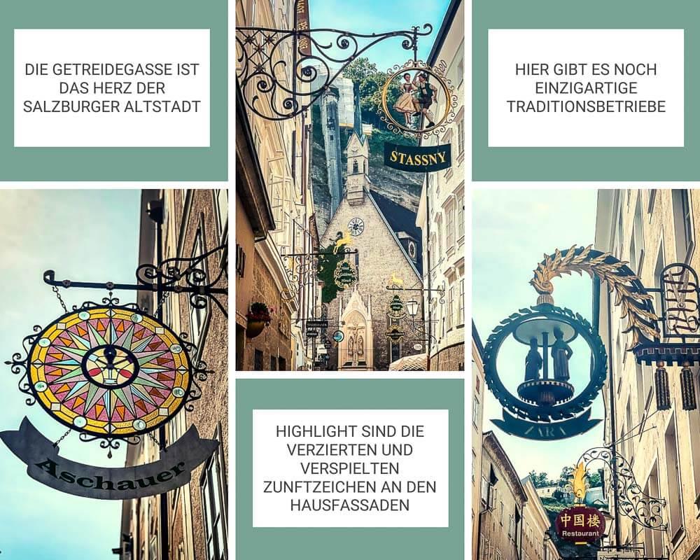 Salzburg Altstadt - Getreidegasse mit Zunftzeichen und Ladenschildern