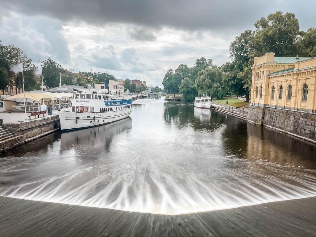 Fyris Hafen und Historisches Pumpenhaus in Uppsala