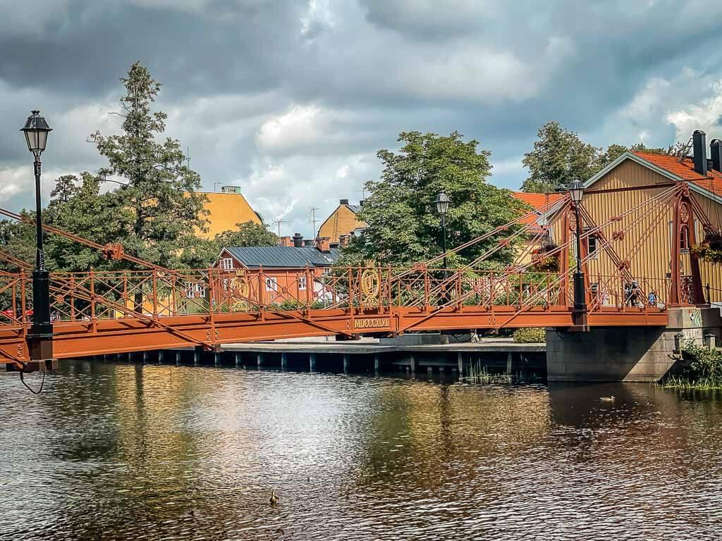Brücke in Uppsala über den Fluss Fyrisan