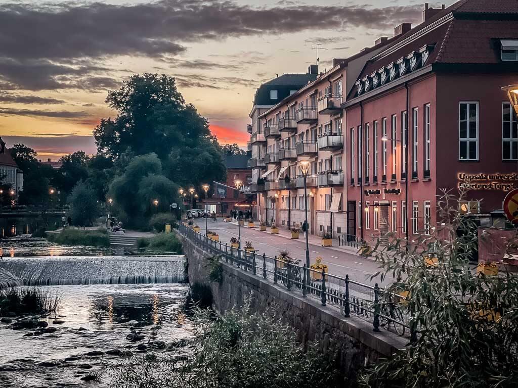 Uppsala Stadtzentrum und Flusss Fyrisan