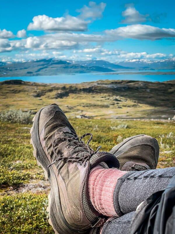 Wanderschuhe Merrell Moab Speed auf dem Padjelantaleden in Lappland