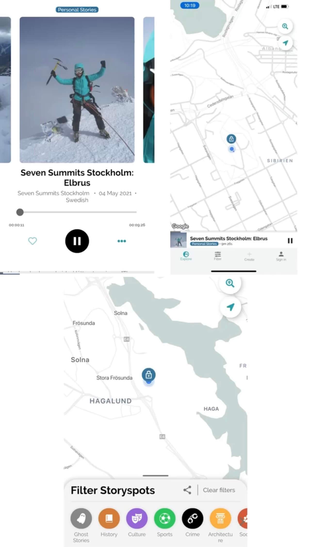 Storyspots App mit Seven Summits of Stockholm Challenge